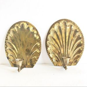 Vintage Solid Brass Shell Wall Sconce Hollywood